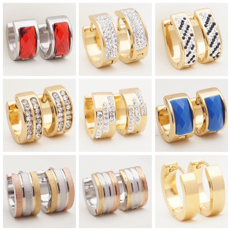 30 Different Styles Small Hoops Rhinestone Stainless Steel Hoop Earrings for Womens Wholesale