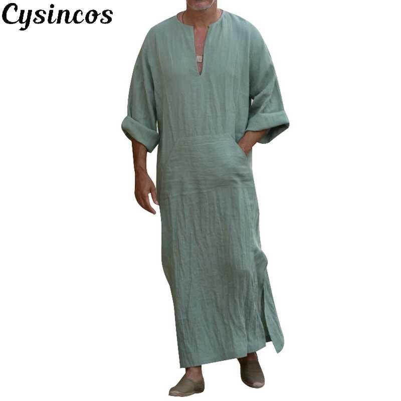 CYSINCOS 2019 男性イスラム教徒イスラムアラブカフタンローブ半袖綿カフタン Jubba トーブヴィンテージドバイサウジアラビア Thobes