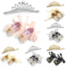 A 2Pcs Princess Shoes For Girls Gifts Fashion Newborn Baby Girl Bow Knot Heart Lace Up Crib Anti-slip Shoes+Crown Headband 0-18M