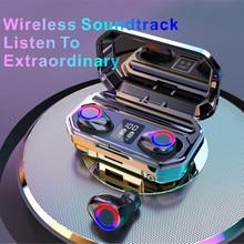 Briame fone de ouvido sem fio bluetooth hd estéreo fone de ouvido esportes com microfone duplo e display led 4000ah bateria caso carga