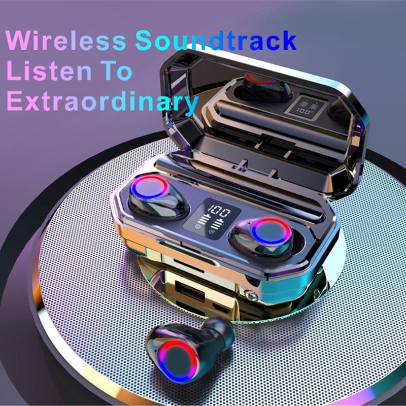 Écouteurs sans fil TWS Bluetooth 5.0, oreillettes étanches avec Microphone, avec boîte de charge 5000mAh, stéréo 9D, pour le sport
