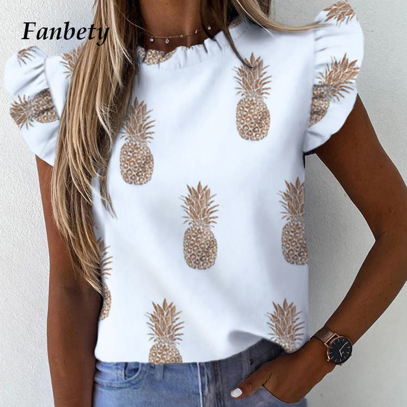 Elegant Pineapple Heart Print Ruffle Blouse Shirts Office Lady 2020 Summer Short Sleeve Slim Blouses Women 3XL Casual O-neck Top
