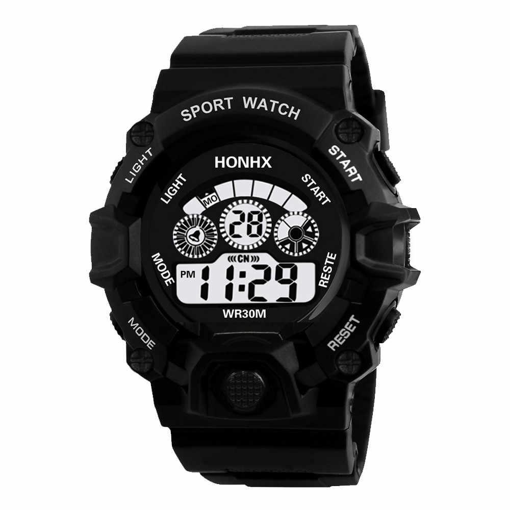 HONHX 時計レロジオデジタル腕時計メンズスポーツアナログ軍事 LCD 電子腕時計防水生活リロイ Zegarek Montre 30 *