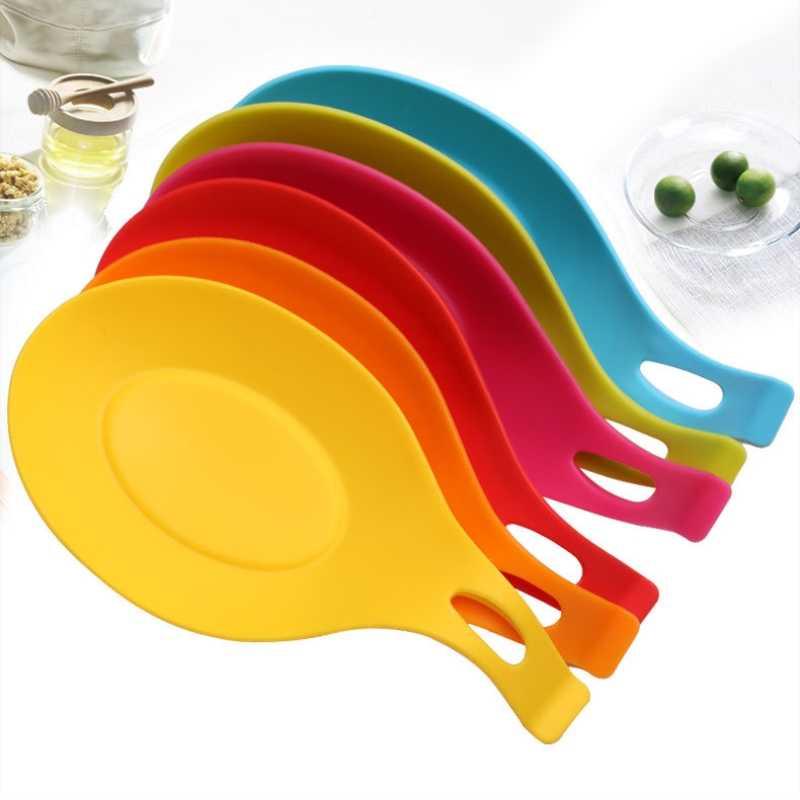 Soporte para cuchara de silicona de grado alimenticio Mantel Individual resistente al calor reposa cuchara soporte estante Gadget almohadilla de herramientas de cocina accesorios 5Z
