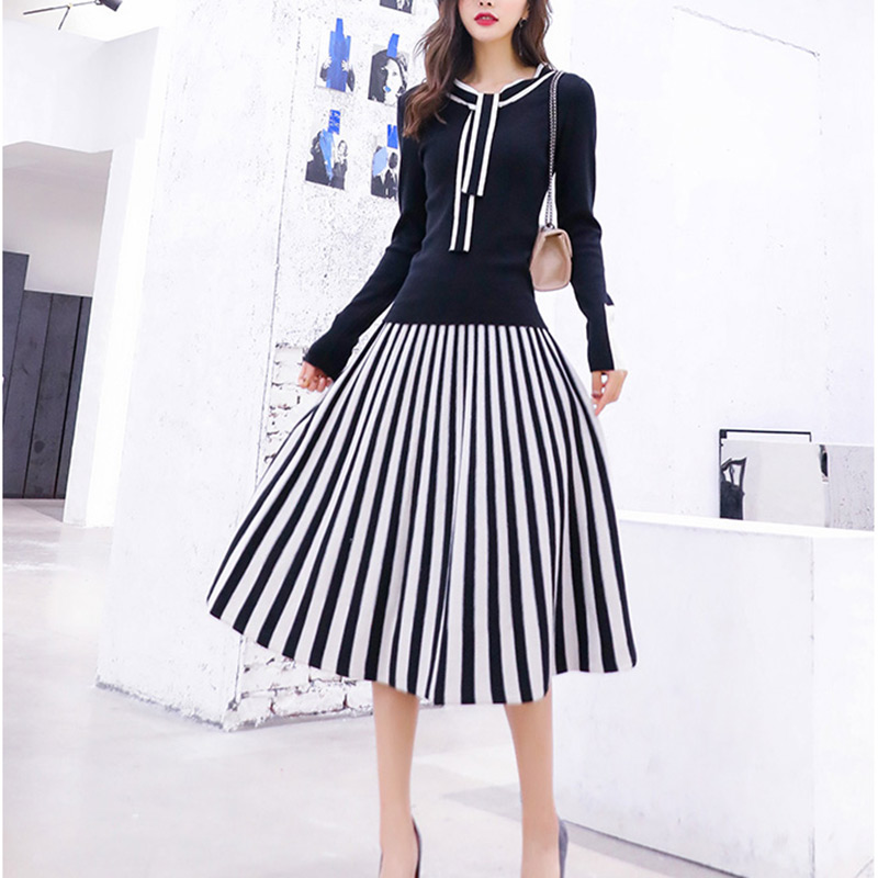 Women Ladies Knitted Multi Striped Abstract Print Midi Dress Suit 2 Piece Sets