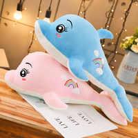 Nette Regenbogen Delphin Puppe Plüsch Spielzeug Gefüllte Ozean Tier Delphin Spielzeug Plüsch Kissen Kinder Spielzeug Freundin Geschenk