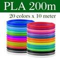 Filamento plástico do pla/abs para o plástico da cópia da pena 3d 10/20 rolls 10 m diâmetro 1.75mm 200 m para a pena 3d da impressora