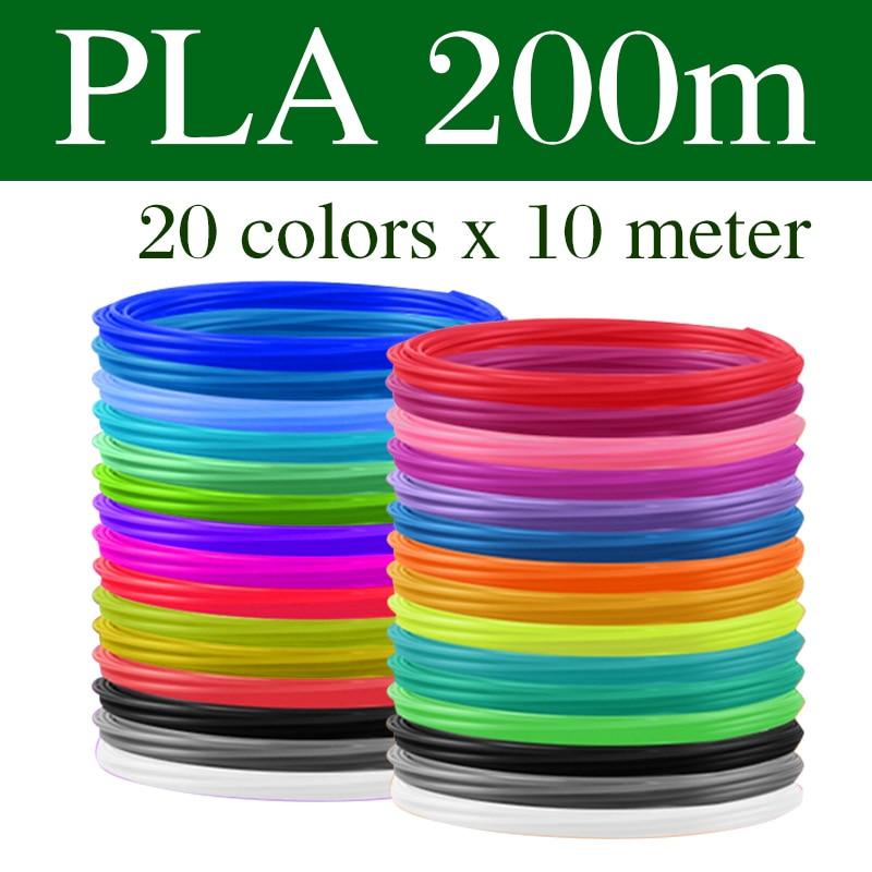 PLA/ABS нити для 3D волокнонные нити 10/20 рулонов 10 м Диаметр 1,75 мм 200 м Пластик нити для 3D ручка 3D-принтеры ручка