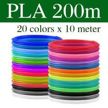 Filamento plástico do pla/abs para o plástico da cópia da pena 3d 10/20 rolls 10m diâmetro 1.75mm 200m para a pena 3d da impressora