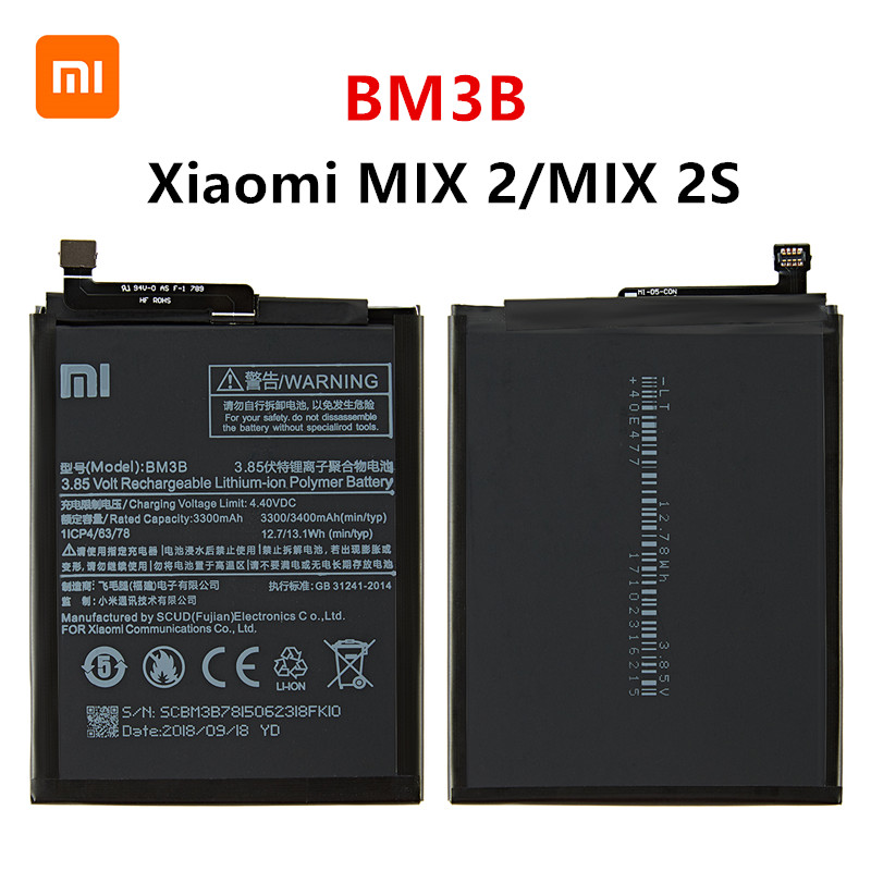 Xiao <font><b>mi</b></font> 100% Orginal BM3B 3300mAh <font><b>Battery</b></font> For Xiaomi <font><b>Mi</b></font> <font><b>MIX</b></font> 2 /<font><b>MIX</b></font> <font><b>2S</b></font> BM3B High Quality Phone Replacement <font><b>Batteries</b></font> image