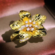 Elegant Gold Flower Ring Crystal Zircon Pave Luxury Female Wedding Rings Finger Jewelry Engagement Band Rings For Women D5T628 blucome luxury aaa zircon copper ring clear cz micro pave gold color rings for women flower big long section finger ring wedding