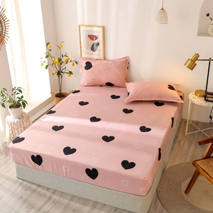 Bonenjoy 3 pcs Bedding Linens King Size Heart-shaped Pattern Fitted Sheet Set For Double Bed sabanas Mattress Cover With Elastic