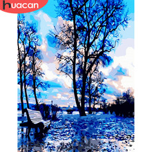 HUACAN  Coloring By Numbers Tree Landscape Art DIY Digital Oil Painting Pictures Scenery Canvas Living Room