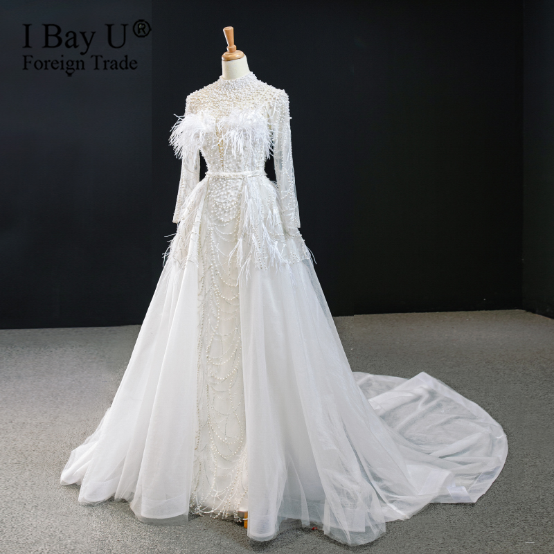 Luxury Beaded Pearl Lace Feather Mermaid Wedding Dress Real Image 2020 Detachable Train Full Sleeve Bridal Gown Robe De Soiree