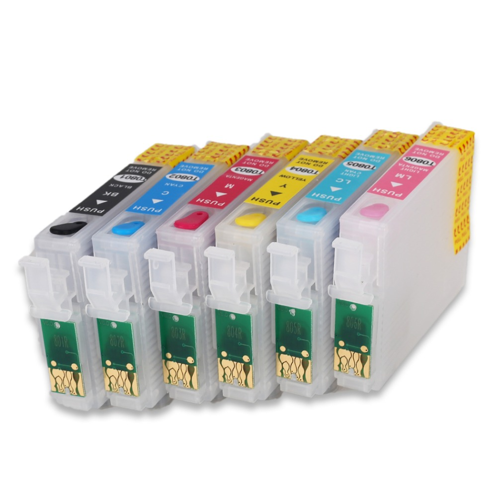 T0801 перезаправляемый картридж для epson STYLUS R265 R285 R360 RX560 RX585 RX685 RX560 P50 PX650 принтер с микросхема автоматического сброса