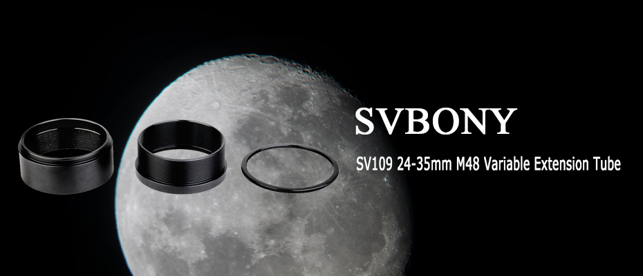 SVBONY SV109 Extension Tube 24-35mm Variable Lock Tube with M48 Thread Applied to Astronomical Telescopes or Spotting Scope for Canon or Nikon SLR Camera Astrophotography