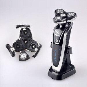 Image 2 - Golarka elektryczna Kemei 4D pływające potrójne ostrze elektryczne maszynki do golenia mężczyzn pielęgnacja twarzy zmywalny akumulator 4 w 1 trymer do włosów 40D