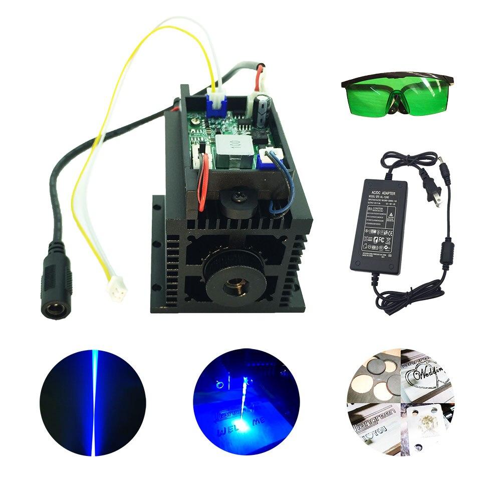 Machine de CNC de graveur de coupeur de bricolage de tête de Laser de Module de Diode du Laser 15 w de puissance élevée pour le bois en métal 450nm 15000mw 15 w TTL