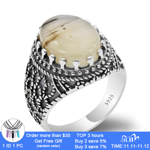 Image 1 - Men Rings Sterling Silver 925 Vintage Thai Silver Men Ring with Big Natural Agate Ring Men Antique Silver Turkish Jewelry Gift
