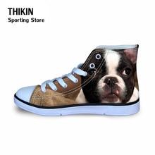 THIKIN/милые детские кроссовки с принтом Бостонского терьера для мальчиков и девочек; детская удобная спортивная обувь на плоской подошве; Осенняя Баскетбольная обувь