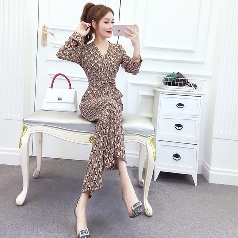 New arrival Women Clubwear V-neck Print  Jumpsuits Party Office Lady Playsuits Romper Trousers Lahore