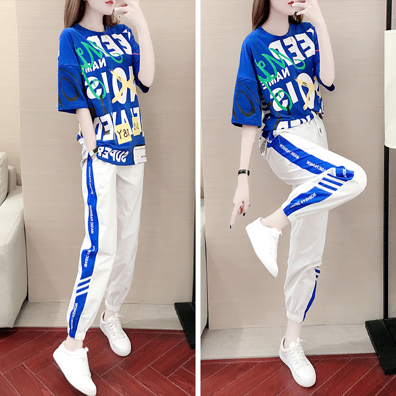Sports WOMEN'S Suit Summer 2019 New Style Short Sleeve Korean-style Loose Casual Trousers Two-Piece Set Western Style Slimming F