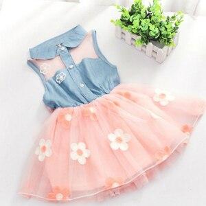 Baby Dress New 2018 Summer Children's Floral Lemon Sling Bow Cotton Sling Rainbow Striped Cartoon Strap Girl Princess Dresses(China)