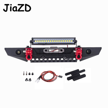 1 Set RC Metal Front Bumper & LED Light for Traxxas TRX-4 TRX4 Axial Scx10 Scx10 II 90046 90047 1/10 RC Crawler Car AY09 rc metal chassis armor axle protection skid plate for axial scx10 ii 90046 90047 1 10 rc crawler car upgrade parts