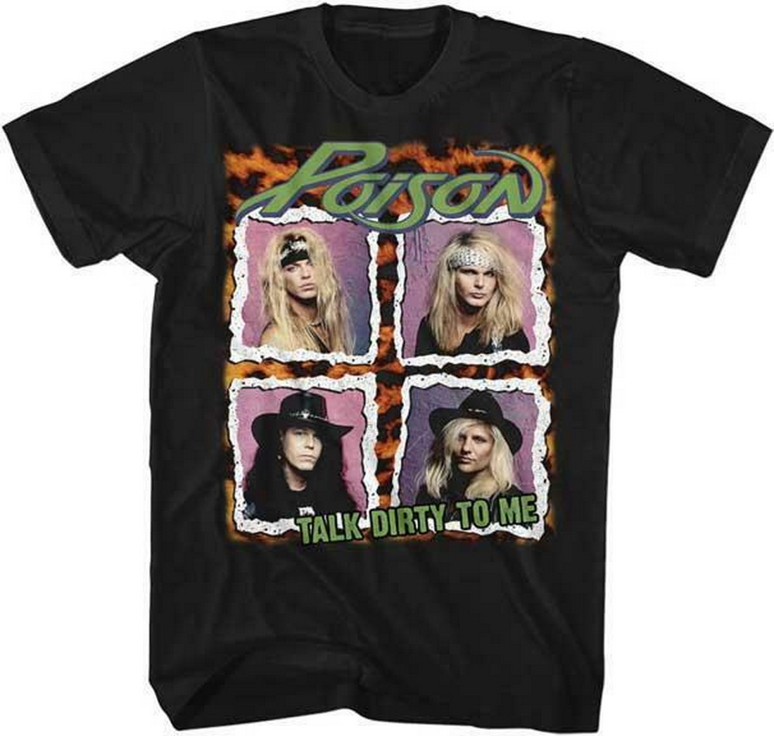 80/'s LOOK WHAT THE CAT DRAGGED IN COVER Poison Glam Hair Metal Rock Band T-Shirt