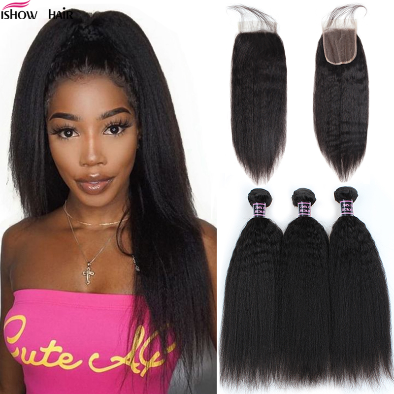 Ishow Kinky Straight Bundles With Closure Yaki Straight Human Hair Bundles With Closure Brazilian Hair Weave Bundles Non-Remy