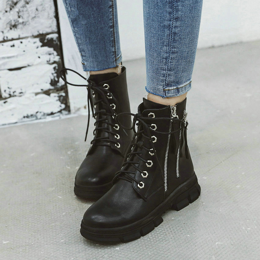 US2-12 SZ Ankle Boots Rivet Zip Chunky Heel Women Casual Pointy Toe Shoes Buckle