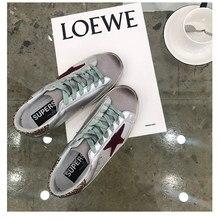 Nouvelles vieilles étoiles en détresse chaussures sales baskets en cuir argenté avec chaussures de sport à fond plat augmenté chaussures pour hommes chaussures pour femmes