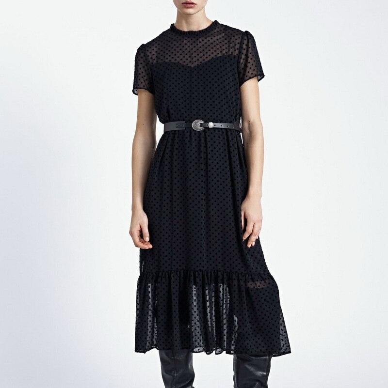 Women Long Dress Spring 2020 New Fashion Flocking Polka Dot Short Sleeve Transparent Material Modern Lady Black Dresses