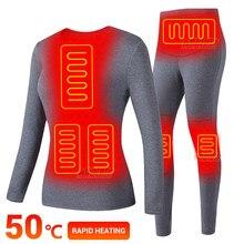 Sous-vêtements chauffants électriques pour femme, combinaison de Ski thermique en polaire, alimenté par batterie USB, hiver