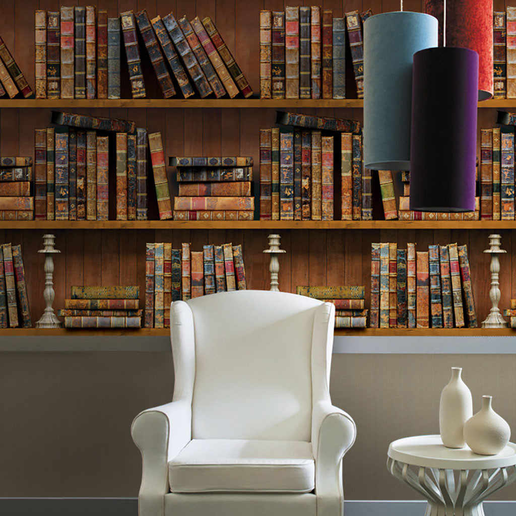 Retro Bookshelf สติ๊กเกอร์ติดผนัง 3D หนังสือสติกเกอร์พีวีซีสติกเกอร์วอลล์เปเปอร์ห้องนั่งเล่นตกแต่งภาพจิตรกรรมฝาผนังวอลล์เปเปอร์