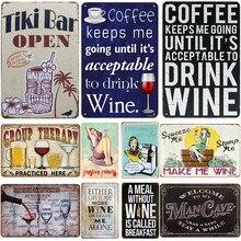 Pintura interior da placa da placa do plaquestin da parede do cartaz do metal do vintage do sinal da lata do vinho do café da barra de tinki