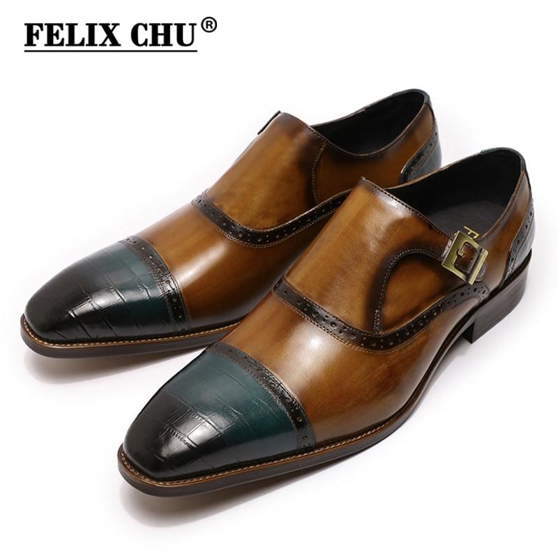 Large Size Mens Dress Shoes Handmade Monk Buckle Strap Loafers Men's Shoes Brown Blue Cap Toe Business Wedding Oxfords For Men