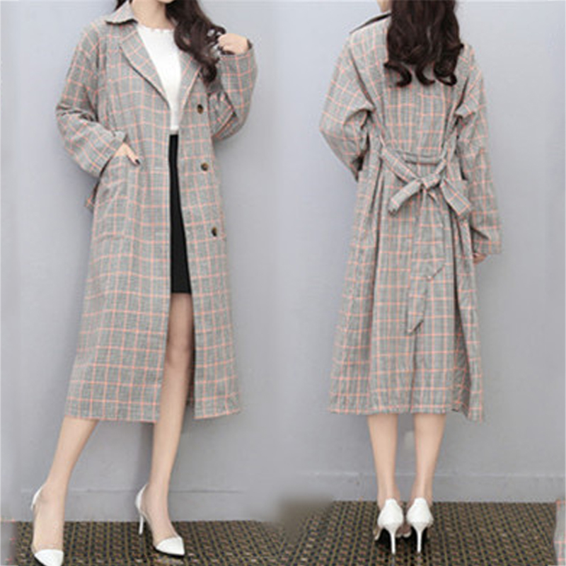 Plus Size 4XL Women   Trench   Coats 2019 Autumn Winter Casual Mid-Length Ladies Outerwear Loose Long Sleeve Plaid Windbreaker New