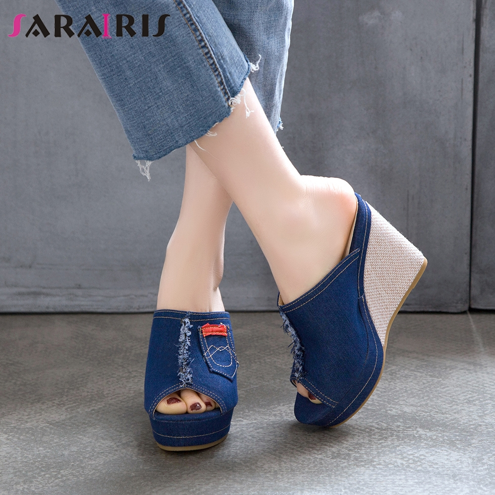 SARAIRIS 2020 Summer Casual Platform Slides Hot Sale Brand Design Denim Slippers Women Fashion Sweet High Wedges Shoes Woman