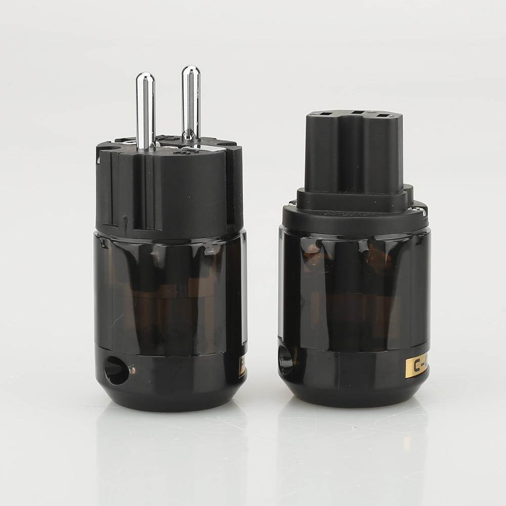 New Brand P004E +C004 Rhodium Plated EUR Schuko AC EU Power Plug C004 IEC Power Connector 1pair