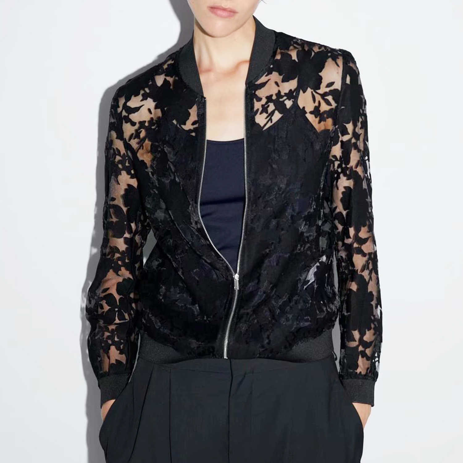 Autumn Floral pattern lace Jacket coat women Solid Black See through fabric Zipper placket Chic lady Casual jacket femme tops