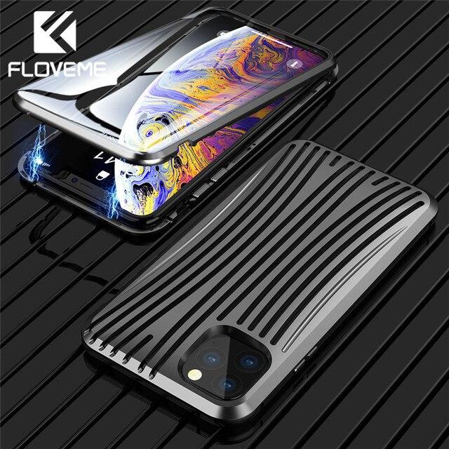 FLOVEME المغناطيسي الهاتف حقيبة لهاتف أي فون 7 8 7 زائد كامل Protecive الزجاج المقسى حقيبة لهاتف أي فون 11 برو 11 XR XS ماكس X 6S Capinha