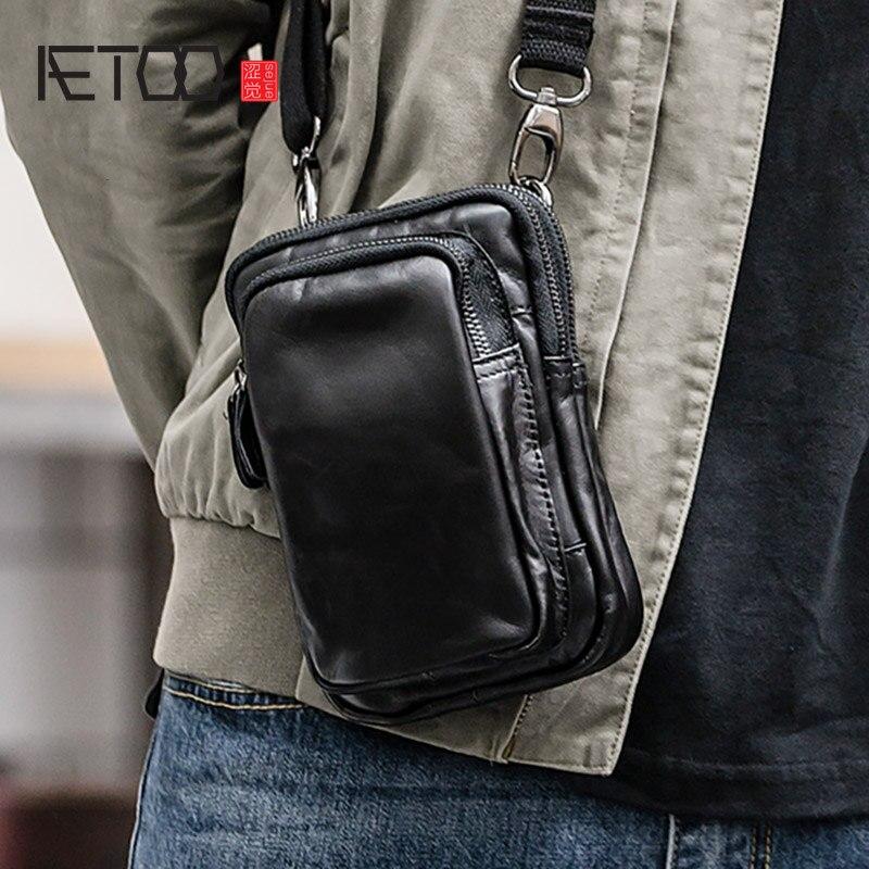 AETOO Men's slanted bag, men's mini shoulder small hanging bag, leather retro mobile phone bag, leather multi-function waist bag