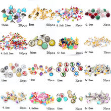 Mix Heart Star Shape Number Rhinestone Studs And Spikes For Clothes Round Square Brads Scrapbooking Embellishment Fastener