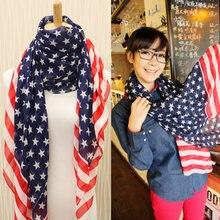 Bandeira americana padrão estrelas e listras europeu e americano alongado chiffon scarfstars e listras bandeira marinheiro
