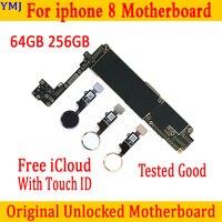 Placa base desbloqueada para IPhone 8, 64GB, 256GB, 100% original, con/sin ID táctil