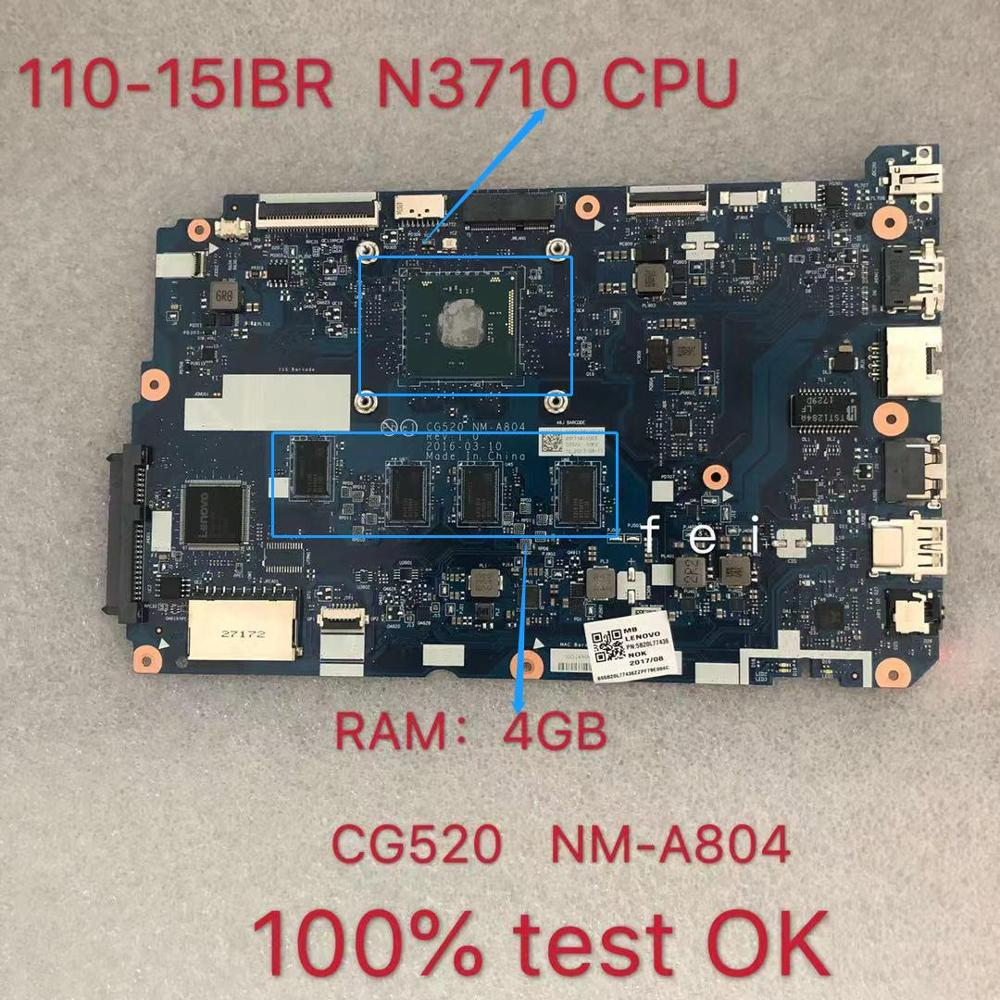 CG520 NM-A804 <font><b>110</b></font>-15IBR for <font><b>Lenovo</b></font> <font><b>IdeaPad</b></font> Laptop <font><b>motherboard</b></font> Com CPU N3710U RAM:4GB 100% test ok image