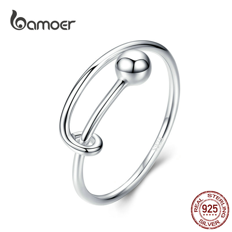 BAMOER Adjustable Rings For Women 925 Sterling Silver Rings Round Bead Minimalist Finger Ring For Size 6 7 8 Fine Jewelry SCR520
