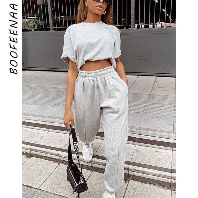 BOOFEENAA Side Stripe Gray Baggy High Waist Sweatpants Streetwear Joggers Womens Trousers Casual Pants Hip Hop 2020 C67-AH57