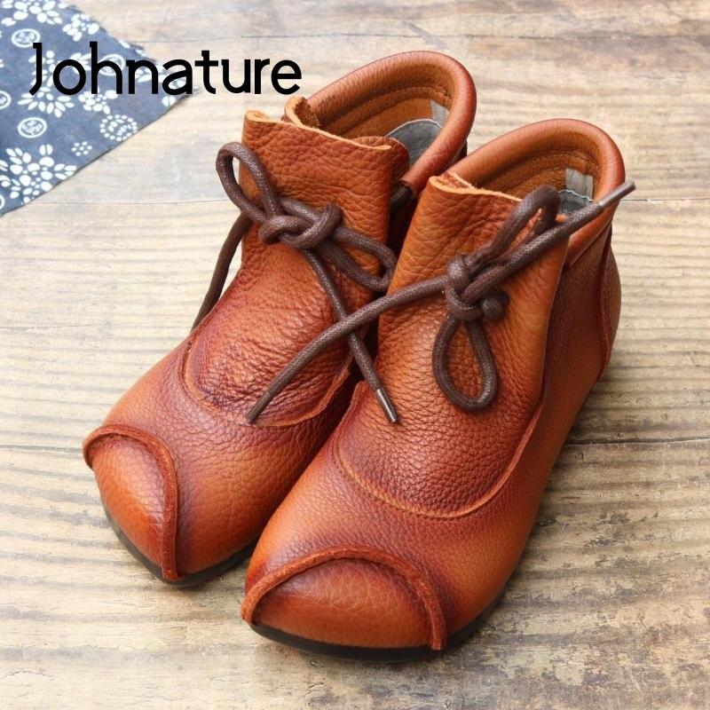 Женские ботильоны для женщин Johnature, из натуральной кожи, на шнуровке, с закругленным носком, на плоской подошве, с шитьем, 2020|Полусапожки|   | АлиЭкспресс